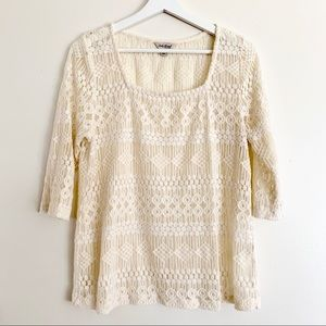Lucky Brand Lace Crochet Offwhite Top